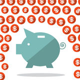 Money Pig and Dollar Rain Vector Royalty Free Stock Photo
