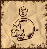 Money pig icon  on vintage background Royalty Free Stock Photos