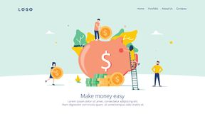 Money Pig Saving for Profit Landing Page. Finance Deposit Earning with Coin Icon. Symbol of Financial Investment. For Website or Web Page. Flat Cartoon Vector stock illustration
