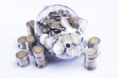 Money in piggy bank! Royalty Free Stock Image