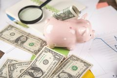 Money with piggy bank on the document royalty free stock photo