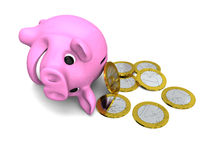 Money from piggy bank Royalty Free Stock Images