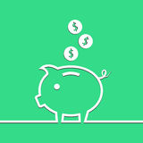 Money piggy bank in line on blue background. Vector Stock Photography
