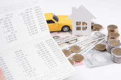Money, pile coin with account book and paper home, car stock photos