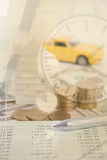 Money, pile coin with account book and paper home, car, family Stock Photo