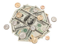 Money Pile of Coins and Dollars Royalty Free Stock Photos