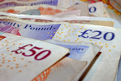 Money British Sterling. British Money or pound sterling Stock Photography