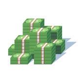 Money pile. Stacked packs of dollar bills. Minimal style flat vector illustration Royalty Free Stock Photo