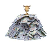 Money Pile with Trophey. Pile of Money with Gold Trophy Isolated on White royalty free stock photos