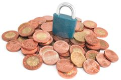 Money pile under padlock Royalty Free Stock Images