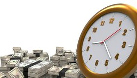 Money pile And Watches Time isolated on white background Royalty Free Illustration