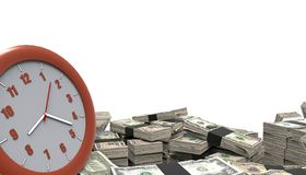 Money pile And Watches Time isolated on white background Stock Illustration
