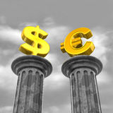 Money on pillars Stock Photo