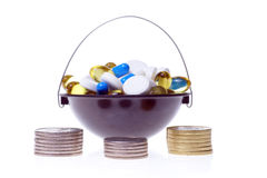 Money and pills Royalty Free Stock Images