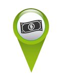 money in pin location isolated icon design Stock Photos