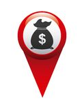 money in pin location isolated icon design Royalty Free Stock Image