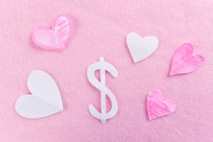 Money on pink background. Love to many concept stock photos