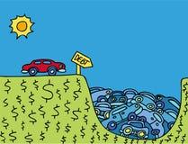 Money Pit. Cartoon metaphor representing driving yourself into debt Stock Photos
