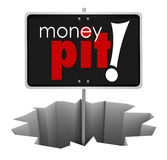 Money Pit Sign in Hole Wasteful Spending Bad Investment. Money Pit in a hole to warn of a project, investment or property that is badly managed and wasteful Stock Images