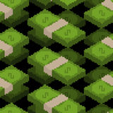 Money pixel art seamless pattern. pixelated Cash background. Dol Stock Image