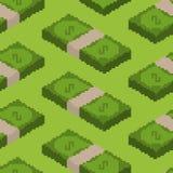 Money pixel art seamless pattern. pixelated Cash background. Dol Stock Photos
