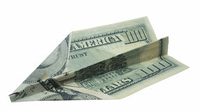 Money plane isolated on white. Dollar banknote folded as an airplane, business concept Royalty Free Stock Image