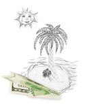 Money plane and tropical island. Isolated on white background Stock Photo