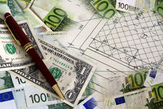 Money and plans. An image of euro, dollars, pencil and plans Stock Photo