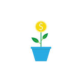 Money plant flat icon, finance and business. Start up and economic growth vector graphics, a colorful solid pattern on a white background, eps 10 Royalty Free Stock Photography