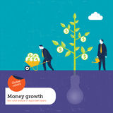 Money Plant grows with ideas Royalty Free Stock Image