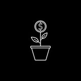 Money plant line icon, finance and business. Start up and economic growth vector graphics, a linear pattern on a black background, eps 10 Stock Photos