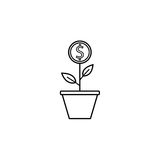 Money plant line icon, finance and business. Start up and economic growth vector graphics, a linear pattern on a white background, eps 10 Royalty Free Stock Photos