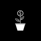 Money plant solid icon, finance and business. Start up and economic growth vector graphics, a filled pattern on a black background, eps 10 Stock Image