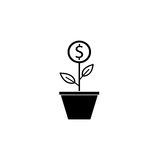 Money plant solid icon, finance and business. Start up and economic growth vector graphics, a filled pattern on a white background, eps 10 Royalty Free Stock Photography
