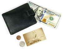 Money, plastic card, purse on a white background Royalty Free Stock Photo