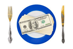 Money on plate stock photos