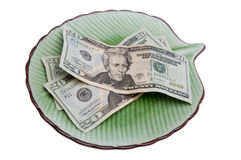 Money on a Plate Stock Image