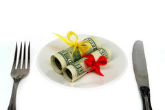 Money for a plate Royalty Free Stock Images