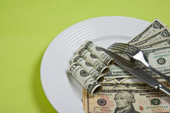 Money on plate Stock Image