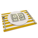 Money on plate Stock Photo