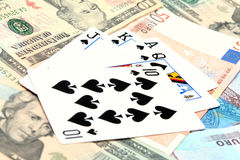 Money playing cards royalty free stock photos
