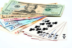 Money playing cards stock photo