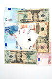 Money playing cards royalty free stock images