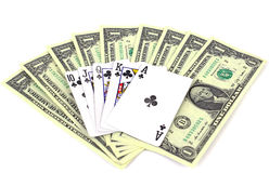 Money and playing cards Stock Photos