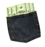 Money in a pocket. Five hundred dollas in a jeans pocket Stock Images