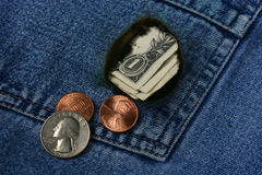 Money Pocket. Money burnning a hole in your pocket? It is mine Royalty Free Stock Photos