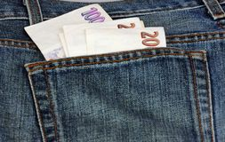 Money in pocket. Czech money in pocket of jeans Royalty Free Stock Image