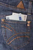 Money in the pocket. Money in the jeans pocket Stock Photography