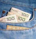 Money in the pocket. Polish money PLN in the jeans pocket Stock Image