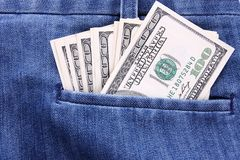 Money in pocket Stock Photo